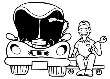 repair man: Auto Mechanic coches Hood: Reparador de trabajo en un veh�culo con una capucha abierta en una caricatura en blanco y negro estilo. Vectores
