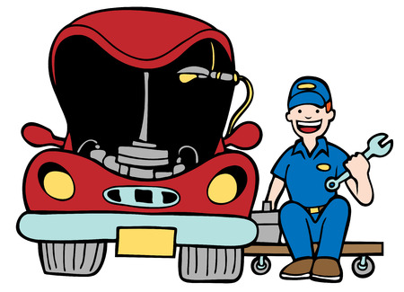Auto Mechanic Car Hood : Repairman working on a vehicle with an open hood in a cartoon style.