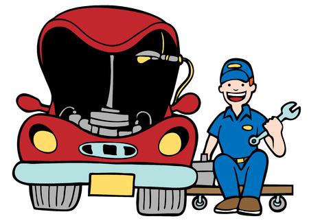 onderhoud auto: Auto Mechanic Car Hood: reparateur werken aan een voertuig met een open kap in een cartoon-stijl.