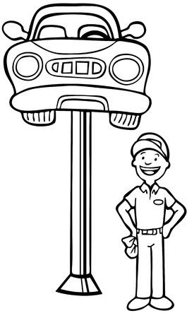 idraulico: Meccanico Auto cabina: Repairman in piedi accanto a una macchina sollevato in aria da un dispositivo di sollevamento idraulico in stile cartoon in bianco e nero.