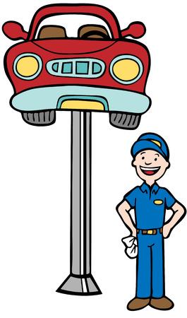 Auto Mechanic cabine d'ascenseur: Repairman debout à côté d'une voiture soulevée en l'air par un dispositif de levage hydraulique dans un style cartoon.