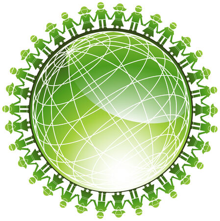 Community Green Globe: Children around a green wire frame shiny three dimensional globe. Illustration