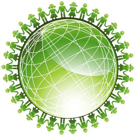 Gemeenschap groene Globe: kinderen rond een groene draad frame glanzende drie dimensionale wereld.