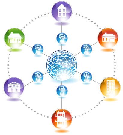 wireless network: Construcci�n de la Red: Un diagrama que representa la comunicaci�n a trav�s de una red inal�mbrica de las comunidades de todo el mundo.