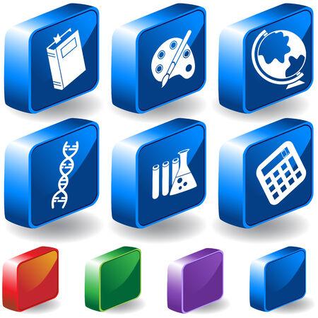 教育の 3 D アイコンを設定: 教育テーマ ボタン、3 つの寸法スタイルに多くの異なる色のオプションが含まれています。
