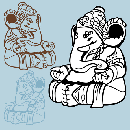 Elephant God Drawing : Indian god statue of Ganesha  in a line art hand drawn style with different color options.