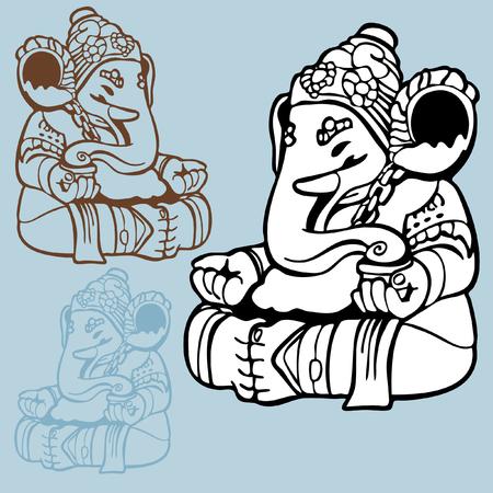 Olifant God tekenen: Indiase god standbeeld van Ganesha in een lijns tijl voor de kunst hand getekend met een andere kleur opties. Stock Illustratie