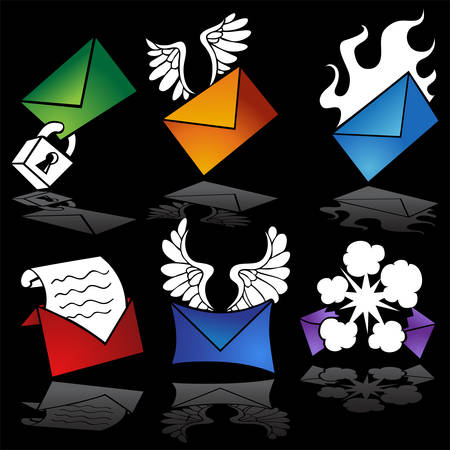 Email Vibrant Cartoon Icon Set : Set of message icons representing different email options.