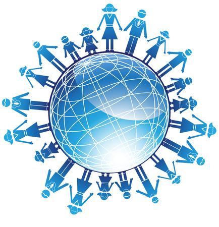 earth in hand: Familia Globo: Set de iconos que representan a una familia de varias personas en un estilo simplificado. Vectores
