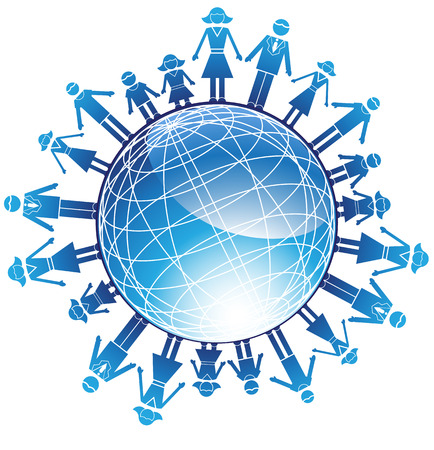erde h�nde: Familie Globe: Set of Icons, die eine Familie von mehreren Menschen in einem vereinfachten Stil darstellt.