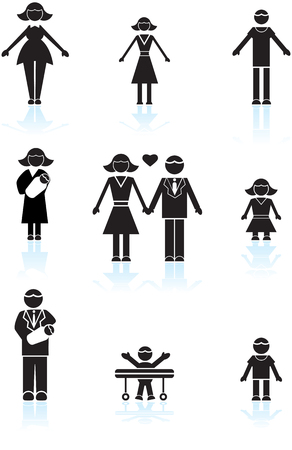 black family: Family Black Icons : Set of icons representing a family of multiple people in a simplified style.