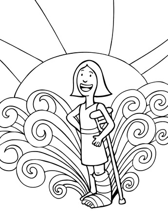 Broken Leg Girl Line Art : Girl wearing a cast on her leg and leaning with crutch to keep from falling. Illustration