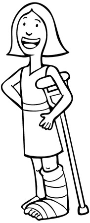 Girl With Broken Leg Crutch Line Art: Girl wearing a cast on her leg and leaning with crutch to keep from falling. Illustration