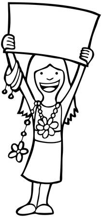 child holding sign: Girl With Sign Line Art: Girl holding a large sign in the art while wearing jewelry. Illustration