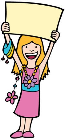 ni�os sosteniendo un cartel: Chica con el signo: Chica con un cartel grande en el arte, mientras que el uso de joyer�a.