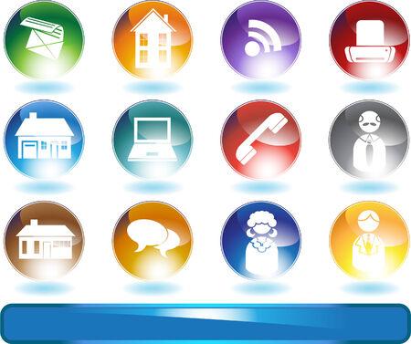 Real Estate Agent Icon Set: Groep knoppen met een makelaarsthema zoals huis, mensen, e-mail, telefoon en meer.