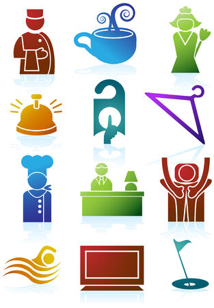 Hotel Color Icon Set : Collection of hotel and spa resort themed objects in a simplified style. Stock Vector - 4957480