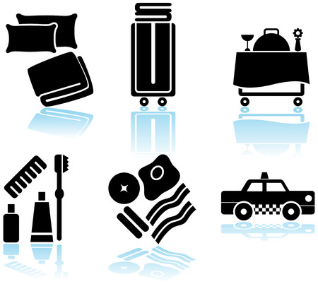 Hotel Feature Black Icon Set : Collection of hotel and spa resort themed objects in a simplified style. Illustration