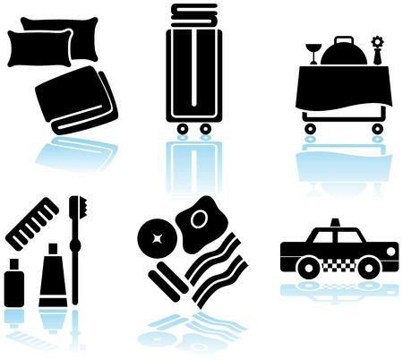 Hotel Feature Black Icon Set: Verzameling van het hotel en spa resort thema-objecten in een vereenvoudigde stijl.