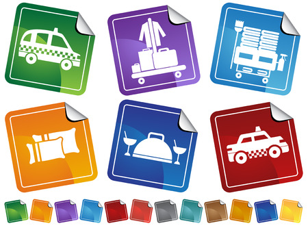 spa resort: Hotel Service Sticker Set : Collection of hotel and spa resort themed objects in a simplified style.