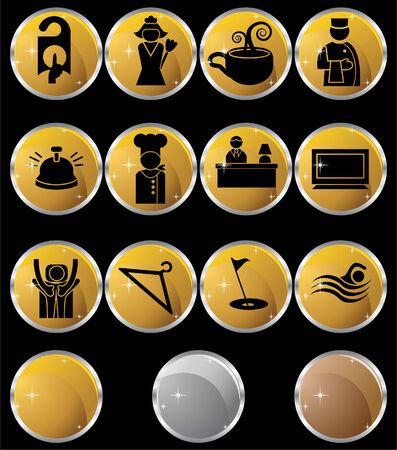 Hôtel Metal Button Set: Collection de l'hôtel et la station thermale d'objets à thème dans un style simplifié. Banque d'images - 4957467
