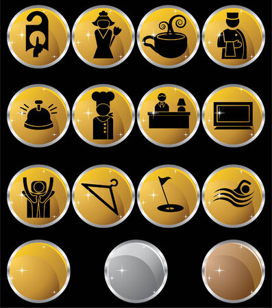 spa resort: Hotel Metal Button Set : Collection of hotel and spa resort themed objects in a simplified style. Illustration
