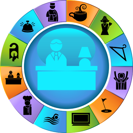 Hotel Wheel Icon Set: Verzameling van het hotel en spa resort thema-objecten in een vereenvoudigde stijl. Vector Illustratie