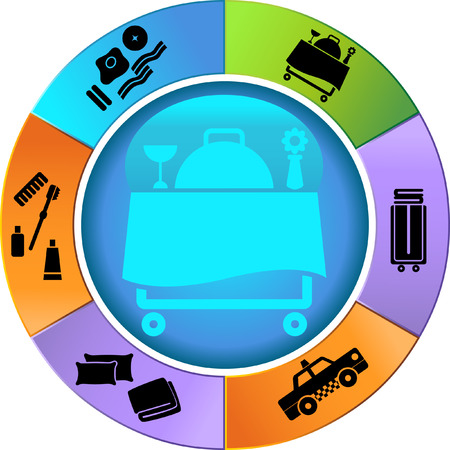 spa resort: Hotel Feature Wheel Icon Set : Collection of hotel and spa resort themed objects in a simplified style. Illustration