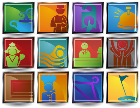 Hôtel Square Icon Set: Collecte de l'hôtel et station thermale objets à thème dans un style simplifié. Banque d'images - 4957482