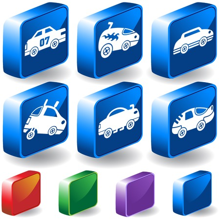 Hot Rod Race Car 3D Icon Set : Group of custom racing car icons in a wide range of truck and car styles. Vector