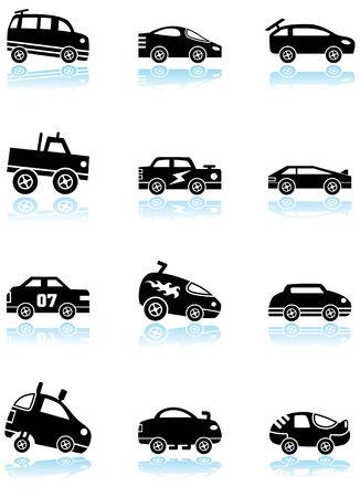 ホット ロッド レース車黒いアイコンを設定: カスタム レース トラックや車の様式の広い範囲の車アイコンのグループ。