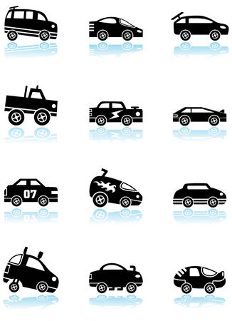 Hot Rod Race Car Black Icon Set : Group of custom racing car icons in a wide range of truck and car styles. 向量圖像