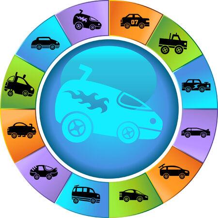 ホット ロッド レース車ホイール アイコンを設定: アイコンのグループがカスタム レース車のトラックや車の様式の広い範囲で。
