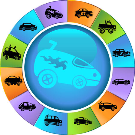 Hot Rod Race Car Wheel Icon Set : Group of custom racing car icons in a wide range of truck and car styles. Illustration