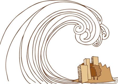 쓰나미 섬 : 손으로 그려진 거대한 물결 모양의 이미지가 작은 도시에 충돌합니다.