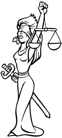 blind: Justice Lady Line Art : Woman with blindfold, sword and scales representing the legal system.