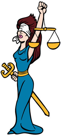 Justice Lady : Woman with blindfold, sword and scales representing the legal system. Illustration