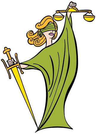 blind justice: Justice Lady : Woman with blindfold, sword and scales representing the legal system. Illustration