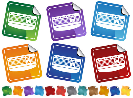 Keyboard Stickers : Keyboard on different colored stickers with peeled edges.