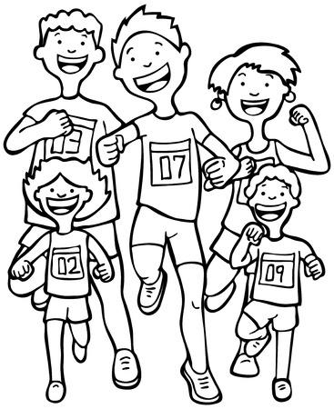 running: Marathon Kid Race Line Art: Children running together in a race wearing numbered badges. Illustration