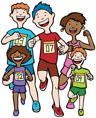Maratón de niños: niños corriendo juntos en una carrera usando insignias numeradas. Ilustración de vector
