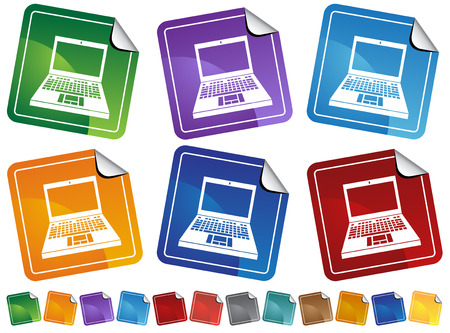 Laptop Stickers : Computers on different colored stickers with peeled edges.