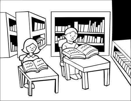 サイレント: 子供図書館読書ライン アート: 男の子と女の子の本を読んでライブラリで机に座っています。