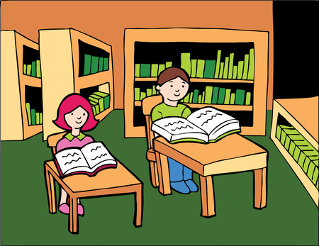 quiet room: Children Library Reading : Boy and girl sitting at desks in a library reading books. Illustration