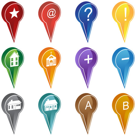 Mapping Location Icon Set : Group of map navigation icons such as home, add, and favorites. Иллюстрация