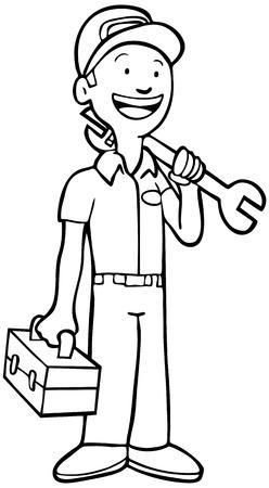 ツールボックスとレンチを保持している制服を着たメカニック ライン アート: 修理。