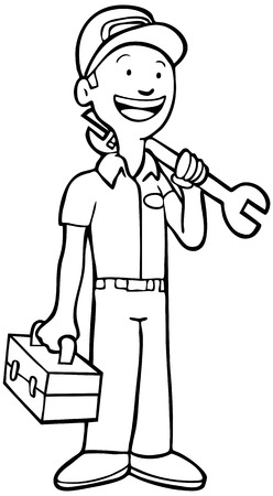 toolbox: Mechanic Line Art : Repairman in uniform holding a toolbox and wrench.
