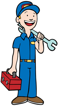 mechanic cartoon: Mechanic Man : Repairman in uniform holding a toolbox and wrench.