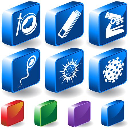 ウイルス 3 D ラボのアイコンを設定: シンプルなスタイルで顕微鏡ウイルス生き物のグループ。