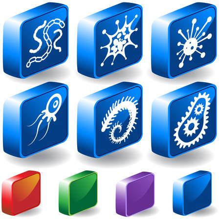 ウイルス 3 D のアイコンを設定: シンプルなスタイルで顕微鏡ウイルス生き物のグループ。  イラスト・ベクター素材